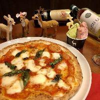 ピッツァ&手作りデザートは、奈良県の食材をふんだんに使用!