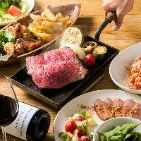 看板メニューのステーキは冷めにくい加工の鉄板でご提供。