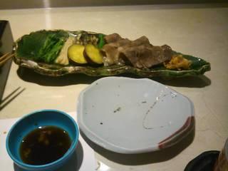 国産牛ロース肉の焼シャブと焼野菜添え