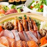 宴会コースは飲放付11品4000円~。5000~で海鮮鍋付きコースも!