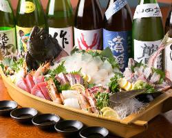 豊浜や函館・氷見・尾鷲から仕入れる旬鮮魚を使った料理が満載!