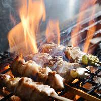 備長炭で香ばしく焼き上げた焼き鳥。タレと塩にもこだわりあり