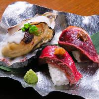 ■牡蠣と宮崎牛とあいち鴨が同時に楽しめるお寿司3貫盛り