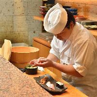 寿司職人が握る鮨は、存分に和の真髄をご堪能いただけます。