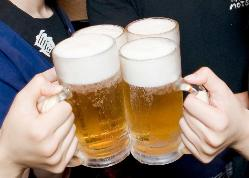 宴会はやっぱりキンキンに冷えたビールで乾杯!喉越し爽やか!