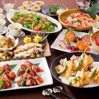 和食と日本酒などのお酒が楽しめる飲み放題付宴会コースあり!