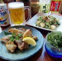 ソーキ黒胡椒焼き・海ぶどう・ゴーヤチャンプル・オリオンビール