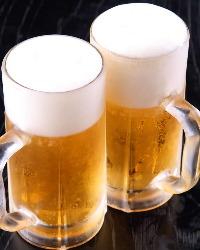 月~木の17時~18時はハッピーアワー!お得に生ビールが飲めます