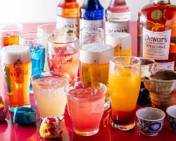 【飲み放題】 当店の宴会コースは全て飲み放題付き!