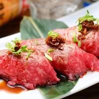 あぶり寿司は希少部位を贅沢に使い牛神特製ダレを塗っております