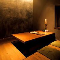 全席掘りごたつ個室。落ち着いた和空間が大人の優雅な時間を演出
