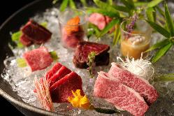 肉の旨味を存分に!生肉盛り※生食用食肉取扱営業施設認可済み。