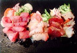 お寿司屋さんにも負けない鮮度が自慢! 新鮮カルパッチョ。