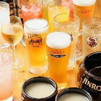 定番ビールや韓国酒など多彩なドリンクでお仲間とカンパ~イ!