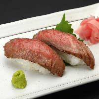 【岡村牛の牛寿司】 甘味と旨味が特徴。山葵とご一緒にどうぞ