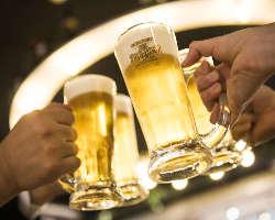 キンキンに冷えた生ビールで乾杯♪プレミアムモルツご提供!
