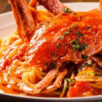 贅沢にまるまる一匹!濃厚「わたり蟹のトマトクリームソース」