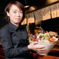 店主厳選!季節の採れたて鮮魚を人気のお造りでお楽しみ下さい。