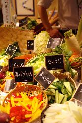 平日380円で生野菜蒸し野菜食べ放題!(定食セット価格)