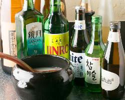 料理に合う生マッコリやチャミスル、百歳酒など韓国酒をご用意!