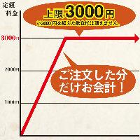 定額システム!3,000円以下の場合は食べて飲んだ分だけ!