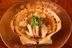「帆立のバター焼き」三陸沖の活き帆立を割り醤油とバターで♪