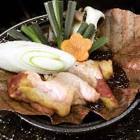 熊野地鶏の朴葉焼き