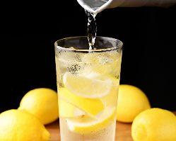 美味しいレモンサワー各種取り揃えてます