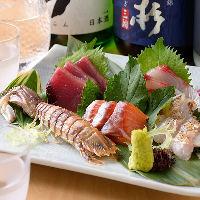柳橋市場に出向いて厳選した季節の鮮魚をお刺身でご堪能ください