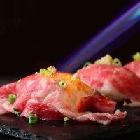 特製肉寿司!霜降り牛肉をジューシーに炙って仕上げました。