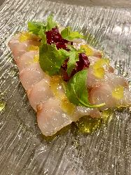 一推しの熟成魚のカルパッチョがご宴会で楽しめます