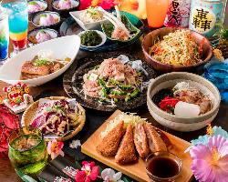 沖縄食材が満載◎飲み放題付「沖縄尽くしコース」が新登場!