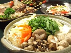 【冬宴会】あたたか鳥塩つくね鍋に、定番串焼きや手羽揚げなど♪