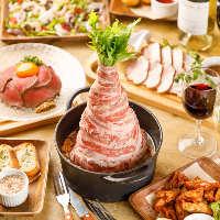 和牛の炙り握りなど肉好きを一層魅了する逸品料理が目白押し!