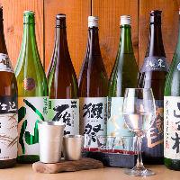 田酒や鍋島など全国の地酒を取り揃え。お造りとご一緒にどうぞ!