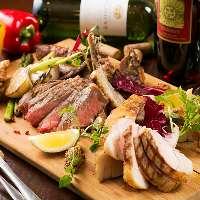 バラエティ豊富な5種類のお肉を楽しめる1.5キロ肉盛りプレート!