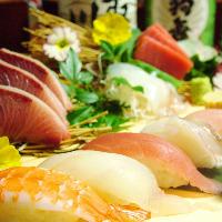 新鮮なお魚を使ったお刺身やお寿司、海・山の幸をご堪能下さい。
