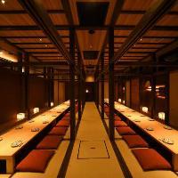 最大60名様まで、個室でのご宴会が可能!!落ち着いた雰囲気。