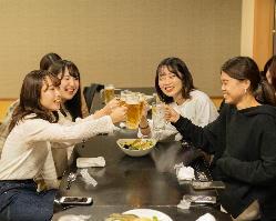 女子会コースにも生ビールが付きます!
