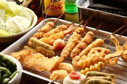 ◆串カツ◆ 食材や油にこだわった食べ応えのある逸品。