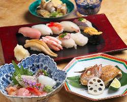 日本海産の新鮮魚介を活かした寿司会席コースを3種ご提供