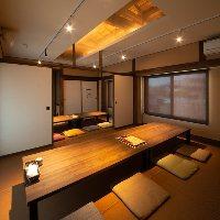 2階には8名の個室を2部屋完備。最大30名の大人数宴会も可能