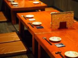 広々としたお席では、ご宴会やご家族のお集まりに最適◎