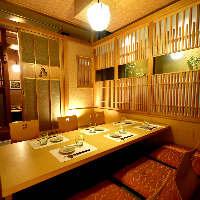 人数にあわせて最適な個室にご案内!和の隠れ家空間でゆったり。