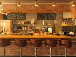 厨房が一望できるので常連様にも大人気。