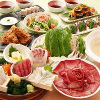 旬の宴会コースは飲み放題,入浴料込み5,000円(クーポン使用)