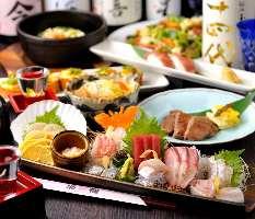 料理9品+地酒12種類付き 飲放題6000円