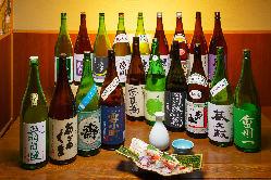 地酒から全国の銘柄酒まで取り揃えた自慢の日本酒を堪能ください