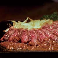 牛サガリガーリックステーキを食べた後は、肉汁活用サービスあり