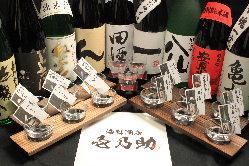 ☆日本酒飲み比べ☆ 県内の地酒と季節のお酒が楽しめます。